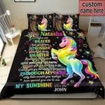 Unicorn My Sunshine Personalized Name Duvet Cover Bedding Set