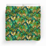 Cheetah Jade Jungle Pattern Duvet Cover Bedding Set