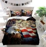 Bald Eagle American Flag Fireworks Bedding Set (Duvet Cover & Pillow Cases)