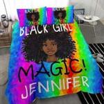 Black Girl Magic Rainbow Personalized Name Duvet Cover Bedding Set