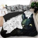 Glorious Night Fury Bed Set – White Toothless King Queen Size Duvet Cover – How To Train Your Dragon Pillow Cases