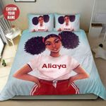 Young Fresh Black Teen Girl Magic Personalized Name Duvet Cover Bedding Set