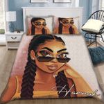 African American Girl With Glasses Pesonalized Bedding Set (Duvet Cover & Pillow Cases)