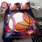 Baseball And Basketball Duvet Cover Bedding Set Black