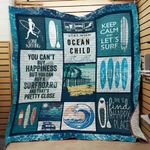 Surfing Theme Keep Calm And Let's Surf Quilt Blanket Great Customized Blanket Gifts For Birthday Christmas Thanksgiving