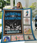 Grandma And Grandson A Bond That Can't Be Broken Quilt Blanket Great Customized Blanket Gifts For Birthday Christmas Thanksgiving