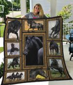 Black Horse Riding Collection Quilt Blanket Great Customized Blanket Gifts For Birthday Christmas Thanksgiving