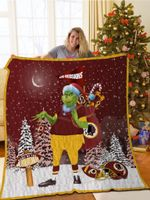 Bl-Wr Grinch Santa Quilt Blanket