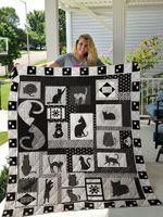 Cat Shadow Black And White Background Quilt Blanket Great Customized Gifts For Birthday Christmas Thanksgiving Perfect Gifts For Cat Lover