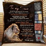 Personalized Lion To My Son Quilt Blanket From Dad I Will Always Carry You In My Heart Great Customized Blanket Gifts For Birthday Christmas Thanksgiving