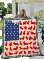 Corgi Usa Flag Quilt Blanket Great Customized Blanket Gifts For Birthday Christmas Thanksgiving