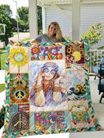 Hippie Van Sunflower Peace Love Quilt Blanket Great Customized Gifts For Birthday Christmas Thanksgiving Perfect Gifts For Hippie