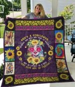 Hippie Girl She's A Sunflower Quilt Blanket Great Customized Gifts For Birthday Christmas Thanksgiving Perfect Gifts For Hippie