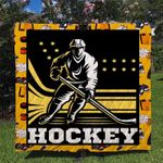 Hockey Player Quilt Blanket Great Customized Blanket Gifts For Birthday Christmas Thanksgiving