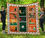 Miami Hurricanes Football Quilt Blanket Great Customized Gifts For Birthday Christmas Thanksgiving Perfect Gifts For American Football Lover