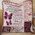 Personalized Butterfly To My Granddaughter Quilt Blanket From Grandma You Will Always Be My Baby Girl Great Customized Blanket Gifts For Birthday Christmas Thanksgiving