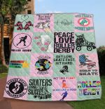 Skating Peace Love Roller By Derby Quilt Blanket Great Customized Gifts For Birthday Christmas Thanksgiving Perfect Gifts For Skating Lover