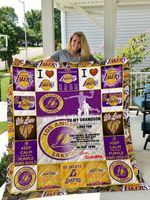 Los Angeles Lakers – To My Grandson – Love Grandmom Quilt Blanket
