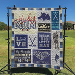 My Favorite Hockey Player Calls Me Mom Quilt Blanket Great Customized Blanket Gifts For Birthday Christmas Thanksgiving