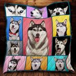 Funny Emotions Of Husky Quilt Blanket Great Customized Blanket Gifts For Birthday Christmas Thanksgiving
