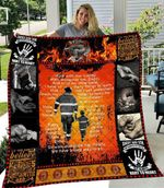 Firefighter Dad And Son Walk With Me Daddy Quilt Blanket Great Customized Gifts For Birthday Christmas Thanksgiving Father's Day