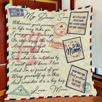 Personalized Airmail To My Son From Mom Mom And Son Best Partner In Crime For Life Quilt Blanket Great Customized Gifts For Birthday Christmas Thanksgiving