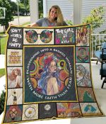 Hippie Blossoming Into A Badass Woman Quilt Blanket Great Customized Gifts For Birthday Christmas Thanksgiving Perfect Gifts For Hippie