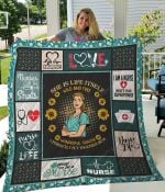 Nurse Sunflower She Is Life Itself Wild And Free Quilt Blanket Great Customized Gifts For Birthday Christmas Thanksgiving Perfect Gifts For Nurse