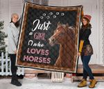 Just A Girl Who Loves Horses Quilt Blanket Great Customized Blanket Gifts For Birthday Christmas Thanksgiving