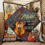 Guitar Music Is The Voice Of The Soul Quilt Blanket Great Customized Blanket Gifts For Birthday Christmas Thanksgiving