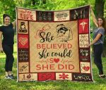 Nurse She Believed She Could So She Did Quilt Blanket Great Customized Blanket Gifts For Birthday Christmas Thanksgiving