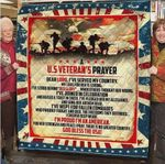 A US Veteran's Prayer GOD Bless The USA Quilt Blanket Great Customized Blanket Gifts For Birthday Christmas Thanksgiving