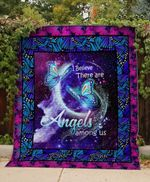 Butterfly I Believe There Are Angels Among Us Quilt Blanket Great Customized Blanket Gifts For Birthday Christmas Thanksgiving