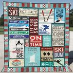 Ski Blue Keep Calm And Ski On Quilt Blanket Great Customized Blanket Gifts For Birthday Christmas Thanksgiving