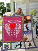 Dad And Son A Big Piece Of My Heart Lives In Heaven And He Is My Dad Quilt Blanket Great Customized Blanket Gifts For Birthday Christmas Thanksgiving