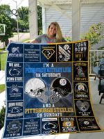 Bl- Penn State Nittany Lions &Amp; Pittsburgh Steelers Quilt Blanket