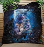 Wolf's Mother Light Blue Background Quilt Blanket Great Customized Blanket Gifts For Birthday Christmas Thanksgiving