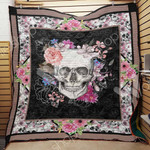 Skull With Flowers Aesthetic Quilt Blanket Great Customized Gifts For Birthday Christmas Thanksgiving Perfect Gifts For Skull Lover