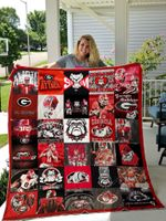 Georgia Bulldogs Red And Black Attack Quilt Blanket Great Customized Blanket Gifts For Birthday Christmas Thanksgiving