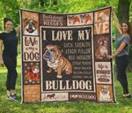 Bulldog And Kisses Quilt Blanket Great Customized Blanket Gifts For Birthday Christmas Thanksgiving