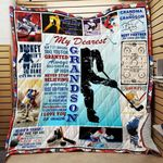 Personalized Ice Hockey To My Grandson From Grandma Don't Let Anyone Take You For Granted Quilt Blanket Great Customized Gifts For Birthday Christmas Thanksgiving