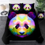 Colorful Panda Duvet Cover Panda Face Quilt Cover Bedding Set Kawaii Panda Rainbow Bedroom Cover