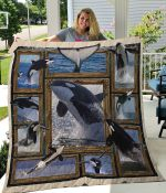 Killer Whale Playing On The Water Quilt Blanket Great Customized Blanket Gifts For Birthday Christmas Thanksgiving
