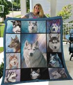 Husky Illustration Quilt Blanket Great Customized Blanket Gifts For Birthday Christmas Thanksgiving