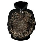 Black Turtle Hawaiian Pattern Print All Over Graphic 3D Hoodie For Men Women All Over 3D Printed Hoodie
