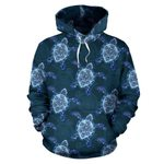 Blue Hawaiian Sea Turtle Pattern Print All Over Graphic 3D Hoodie For Men Women All Over 3D Printed Hoodie