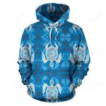 Blue Hawaiian Shark Sea Turtle Pattern Print All Over Graphic 3D Hoodie For Men Women All Over 3D Printed Hoodie