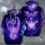 HP Deathly Hallows Deer And Owl Galaxy All Over Print Hoodie