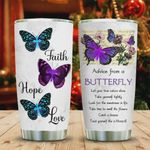 Butterfly Advice Faith Tumbler Cup Faith Hope Love Stainless Steel Vacuum Insulated Tumbler 20 Oz Great Gifts For Birthday Christmas Thanksgiving Travel Tumbler Coffee/ Tea Tumbler With Lid