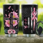 Breast Cancer Faith Christian Cross Tumbler Cup Stainless Steel Vacuum Insulated Tumbler 20 Oz Great Gifts For Birthday Christmas Thanksgiving Coffee/ Tea Tumbler With Lid